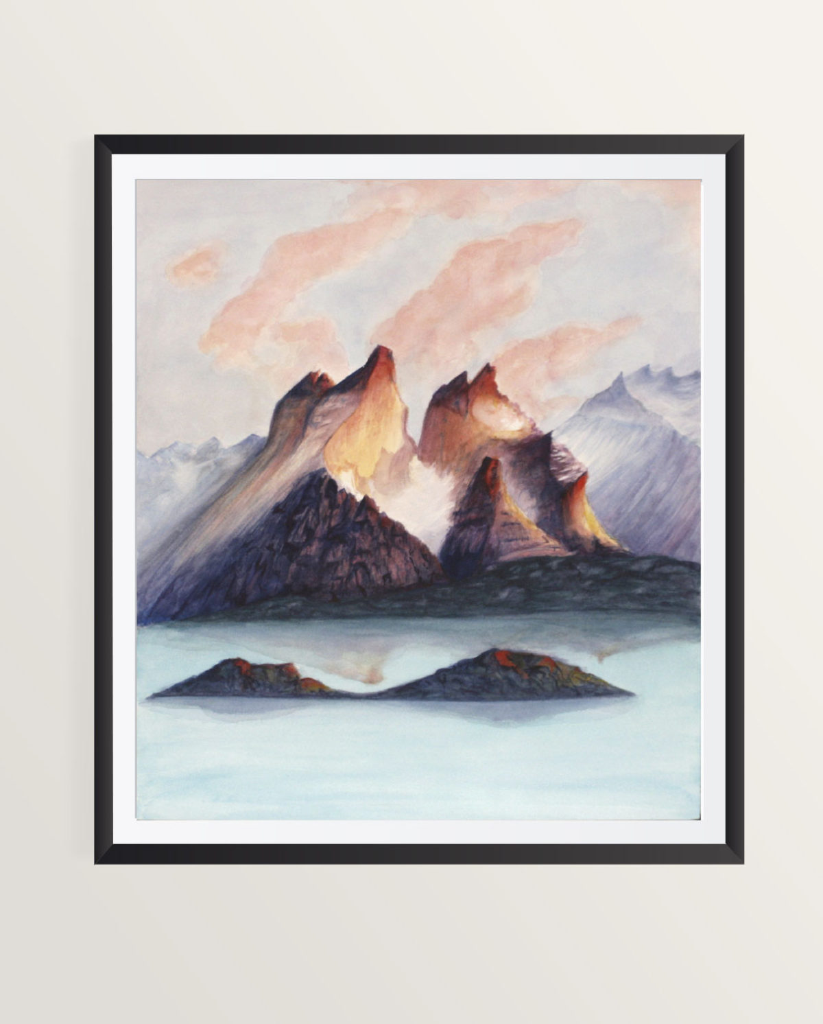 torres del paine watercolor painting framed