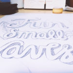 fun small waves letering pencil